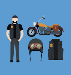 Motorcyclist and classic yellow motorcycle vector