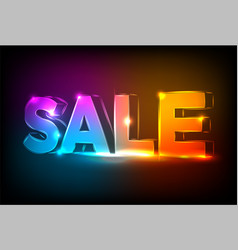 neon sale sign on dark wall background editable vector image