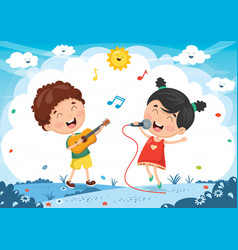 Of kids playing music vector