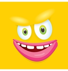 Orange funny comic monster face vector