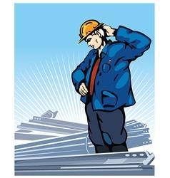 Pensive worker vector