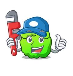 Plumber shrub mascot cartoon style vector