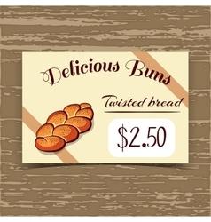 Price Tag Design Twisted Bread vector