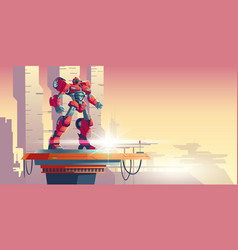 Red robot transformer alien invader on spaceship vector