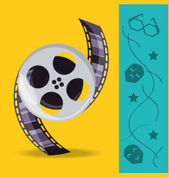 Reel with filmstrips to cinematography production vector