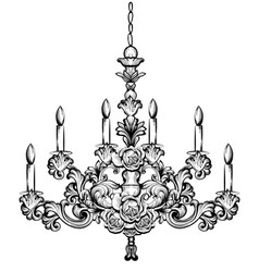 Rich baroque chandelier luxury decor accessory vector