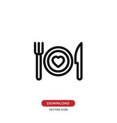 romantic dinner icon vector image