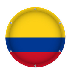 Round metallic flag of colombia with screws vector