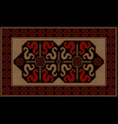 Rug with ethnic pattern dragons on the black mid vector