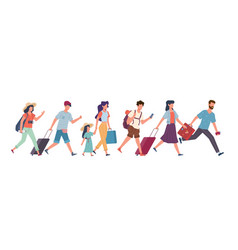 running tourists people with baggage hurry to vector image