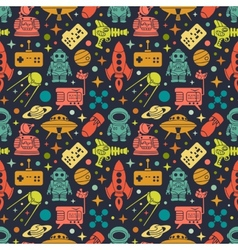 Sci-fi retro pattern vector