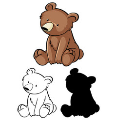 set bear cartoon vector image