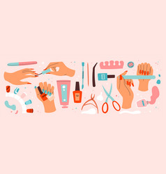 set manicure and nail care icons vector image