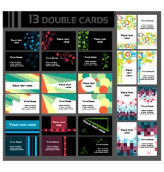 set of 13 double business cards vector image