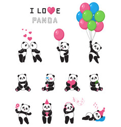 set of cartoon funny pandas vector image