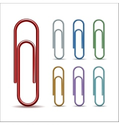 Set of colored paper clips vector image vector image