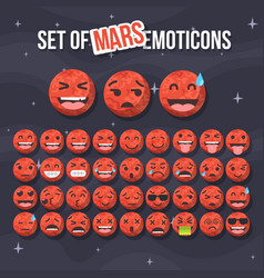 Set of cute mars smiley mars emoticons flat vector
