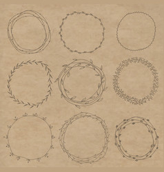 set of decorative wreaths doodle vector image