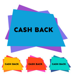 set of four cash back stickers with geometric form vector image
