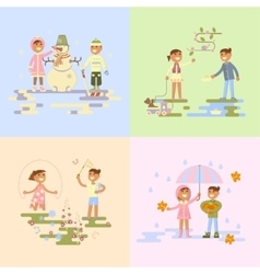 Set with babies vector image
