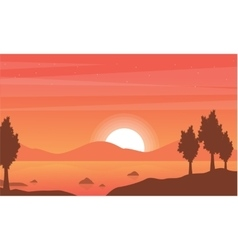 Silhouette of lake with mountain backgrounds vector