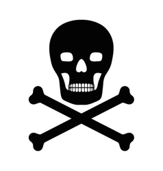 Silhouette with skull and bones vector