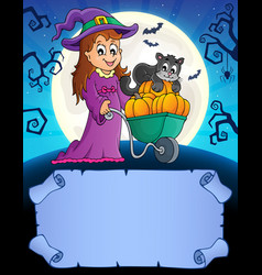 Small parchment and cute witch 2 vector