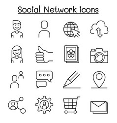 social network social media icon set in thin line vector image