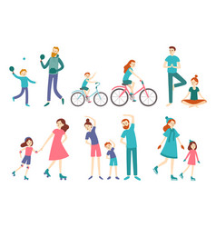 sport family people couple with kids on fitness vector image