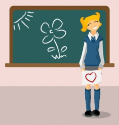 student with blackboard vector image