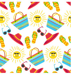 summer vacation seamless pattern accessories and vector image