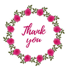 thank you card with rose wreath vector image