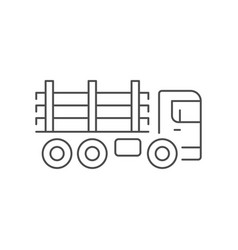 timber truck line outline icon vector image
