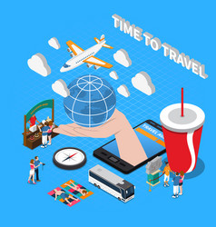 time to travel isometric composition vector image