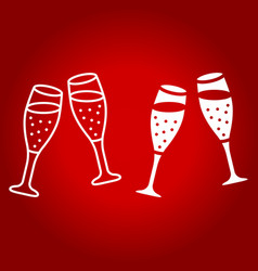 two glasses of champagne line and glyph icon vector image