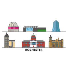 united states new york rochester flat landmarks vector image