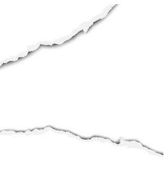 Wide torn snatched hole in sheet of white paper vector