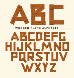 Wooden font plank wood table alphabet old boards vector