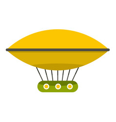 Yellow retro hot air balloon icon isolated vector