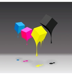 Cmyk cubes with blobs on grey background vector