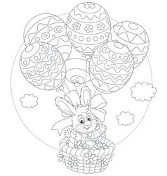 Easter Bunny flies with balloons vector image