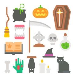 Flat design Halloween items set vector image vector image