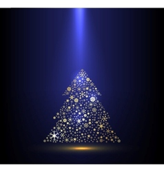 Gold and blue background with Christmas tree vector image