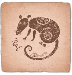 Rat Chinese Zodiac Sign Horoscope Vintage Card vector image