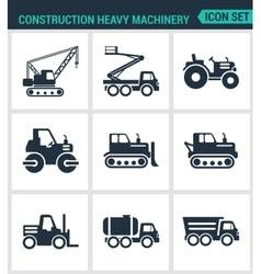 Set of modern icons Construction heavy vector image