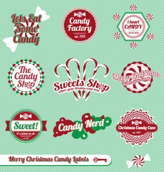 Christmas candy labels and icons vector