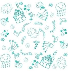 Doodle art for kids green vector image