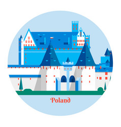 malbork castle in polandtravel poland landmark vector image