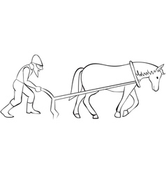 Plowman and horse with plow vector image vector image