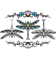 Set dragonflies color stencil and black variants vector image vector image